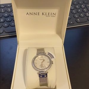 Anne Klein Women's Crystal Silver Tone Watch